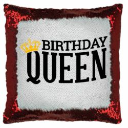Подушка-хамелеон Birthday queen and crown yellow