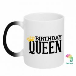 Кружка-хамелеон Birthday queen and crown yellow