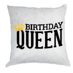 Подушка Birthday queen and crown yellow
