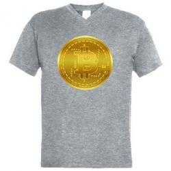 Чоловіча футболка з V-подібним вирізом Bitcoin coin