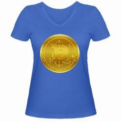 Жіноча футболка з V-подібним вирізом Bitcoin coin