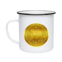 Кружка емальована Bitcoin coin