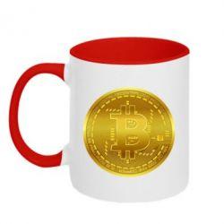 Кружка двоколірна 320ml Bitcoin coin
