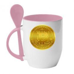 Кружка з керамічною ложкою Bitcoin coin