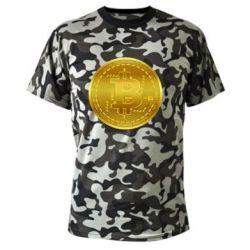 Камуфляжна футболка Bitcoin coin