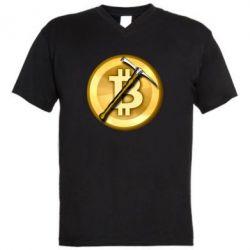 Чоловіча футболка з V-подібним вирізом Bitcoin Hammer