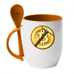 Кружка з керамічною ложкою Bitcoin Hammer