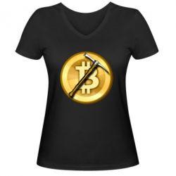 Жіноча футболка з V-подібним вирізом Bitcoin Hammer