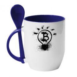 Кружка с керамической ложкой Bitcoin idea