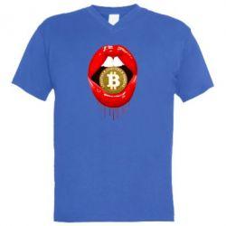 Чоловіча футболка з V-подібним вирізом Bitcoin in the teeth