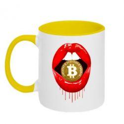Кружка двоколірна 320ml Bitcoin in the teeth