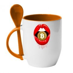 Кружка з керамічною ложкою Bitcoin in the teeth