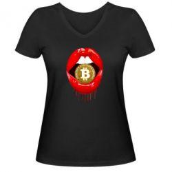 Жіноча футболка з V-подібним вирізом Bitcoin in the teeth