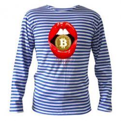 Тельняшка с длинным рукавом Bitcoin in the teeth