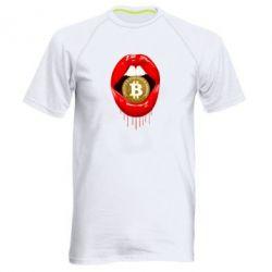 Мужская спортивная футболка Bitcoin in the teeth