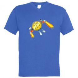 Чоловіча футболка з V-подібним вирізом Bitcoin into space