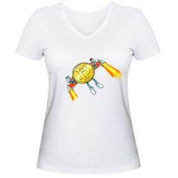 Жіноча футболка з V-подібним вирізом Bitcoin into space