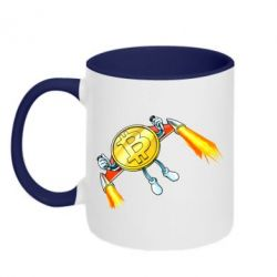Кружка двоколірна 320ml Bitcoin into space