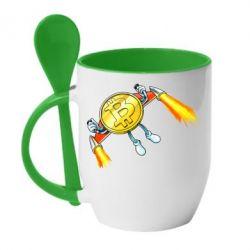 Кружка з керамічною ложкою Bitcoin into space