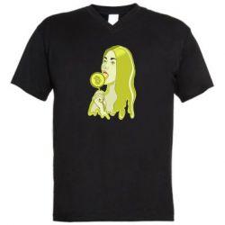 Мужская футболка  с V-образным вырезом Bitcoin Lollipop