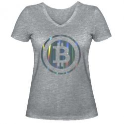 Женская футболка с V-образным вырезом Bitcoin