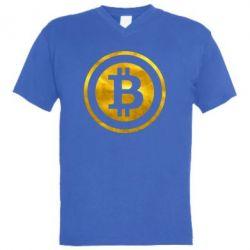 Мужская футболка  с V-образным вырезом Bitcoin