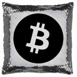 Подушка-хамелеон Біткоин лого