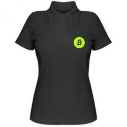 Купить Женская футболка поло Биткоин лого, FatLine