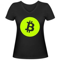 Жіноча футболка з V-подібним вирізом Біткоин лого