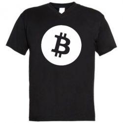 Чоловіча футболка з V-подібним вирізом Біткоин лого