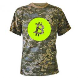 Камуфляжна футболка Біткоин лого