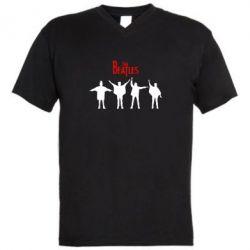 Мужская футболка  с V-образным вырезом Битлы