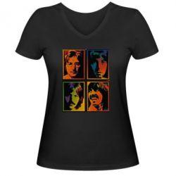 Женская футболка с V-образным вырезом Битлы - FatLine