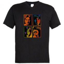 Мужская футболка  с V-образным вырезом Битлы - FatLine