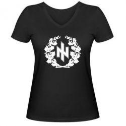 Женская футболка с V-образным вырезом Бій під Крутами - FatLine