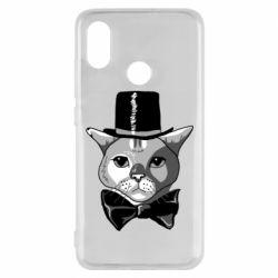 Чехол для Xiaomi Mi8 Black and white cat intellectual