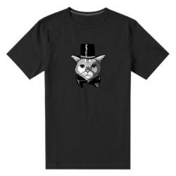 Чоловіча стрейчева футболка Black and white cat intellectual