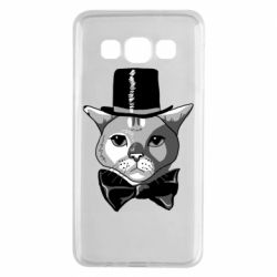 Чехол для Samsung A3 2015 Black and white cat intellectual