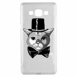 Чехол для Samsung A5 2015 Black and white cat intellectual
