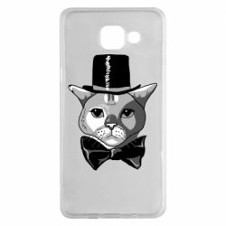 Чехол для Samsung A5 2016 Black and white cat intellectual
