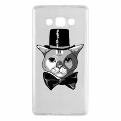 Чехол для Samsung A7 2015 Black and white cat intellectual