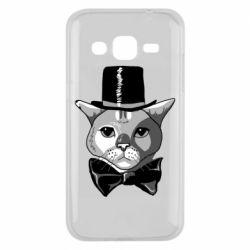 Чохол для Samsung J2 2015 Black and white cat intellectual