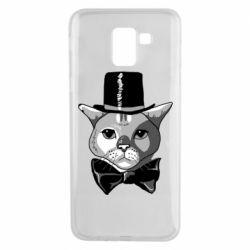 Чохол для Samsung J6 Black and white cat intellectual