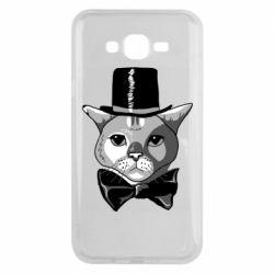 Чохол для Samsung J7 2015 Black and white cat intellectual