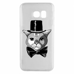 Чехол для Samsung S6 EDGE Black and white cat intellectual