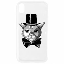Чехол для iPhone XR Black and white cat intellectual