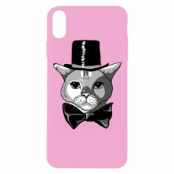 Чохол для iPhone Xs Max Black and white cat intellectual