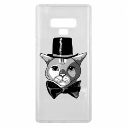 Чехол для Samsung Note 9 Black and white cat intellectual