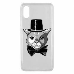 Чехол для Xiaomi Mi8 Pro Black and white cat intellectual