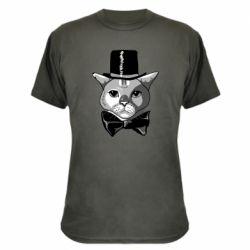 Камуфляжна футболка Black and white cat intellectual
